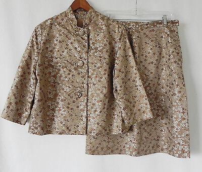 (Vtg Skirt Suit Rockabilly Mid-Calf Skirt Satin Floral 3/4 Sleeve Size M/L)