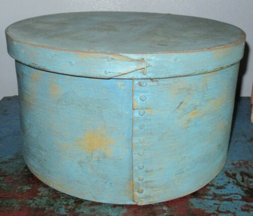 Large Pantry Box/Shaker Firkin/Sugar Bucket/Wooden Blue Paint-Primitive