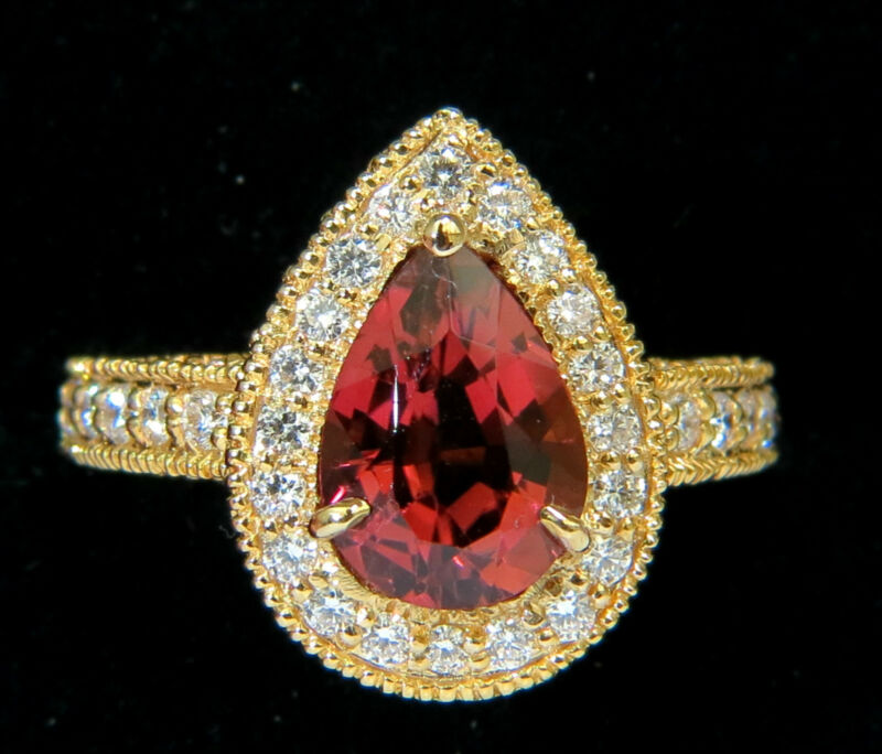 █$6000 Natural 4.50ct Pink Tourmaline Diamond Ring Halo A+ Luster Vs Prime 14kt