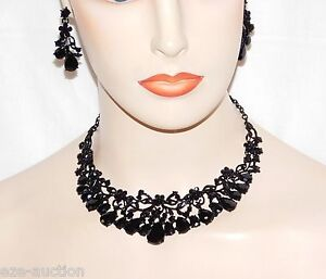 Marvelous Black Onyx Rhinestone Crystal Flower Necklace and Earrings Set