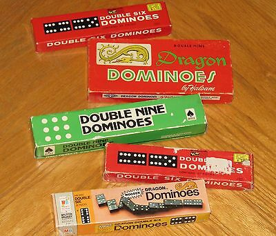 195 Vintage Wood Dominoes Mixed Lot - Hoyle Halsam Dragon Jaymar rally crafts