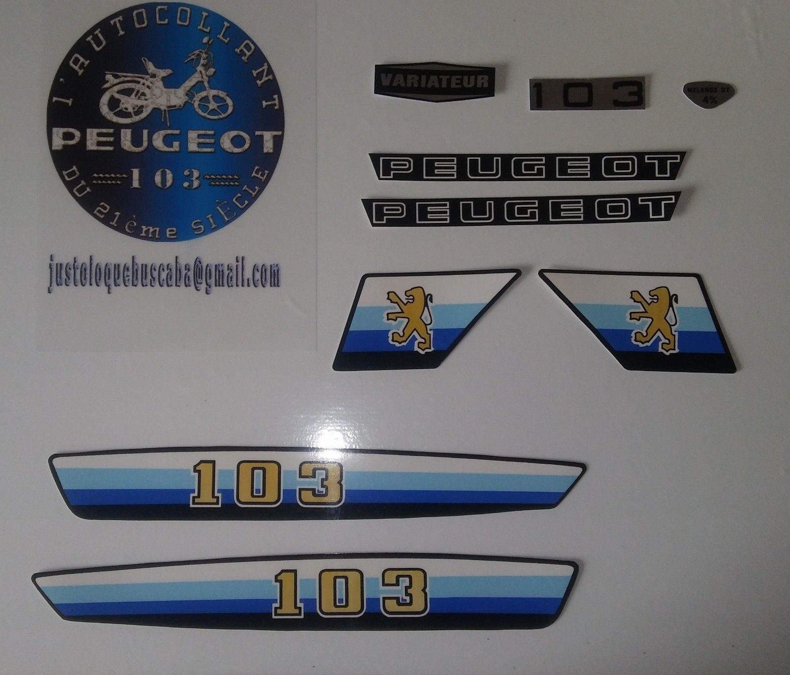 Autocollant Peugeot 103 MV/MVL/SPORT Bleu.