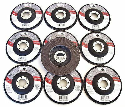 "10 GOLIATH INDUSTRIAL 4-1/2"" FLAP DISCS 120 GRIT FD412120 ANGLE GRINDER WHEEL"