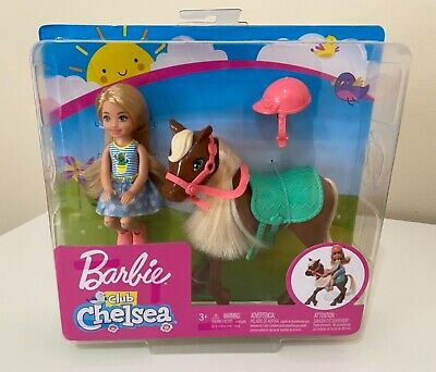 """Barbie Club Chelsea 6"""" Blonde Doll and Brown Pony (Horse) Playset, Brand New"""