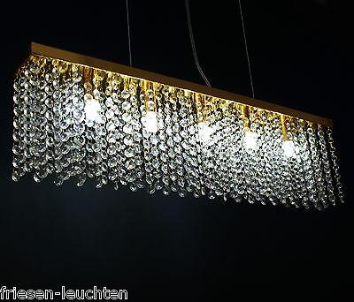 LED Hängelampe 5-flg. RGB Farbwechsel, Pendelleuchte, Gold, inkl.LED LM Kristall