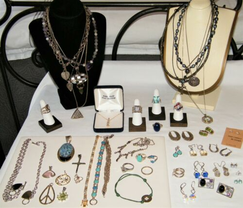 Marked 50Pc 925 STERLING SILVER (One w 14K Gold) JEWELRY LOT Opal~Turquoise 470g