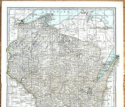 1864 WI MAP Glendale Grafton Grand Chute Grand Rapids Green Bay Greendale HUGE