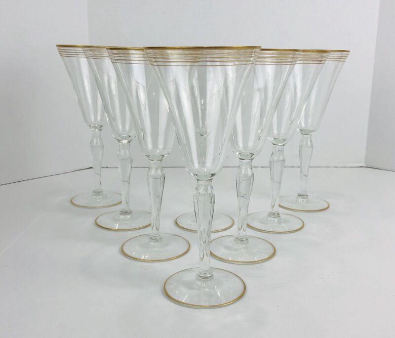 Vintage Art Deco Gold Gilt Ringed Tall Stem Glasses Vtg Wine Water Stemware