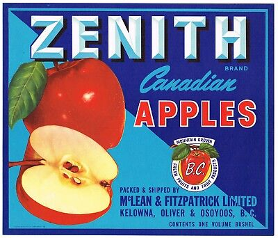 ZENITH Canada B.C Canadian Apple LABELS Wholesale Lot of 100 Old Vintage