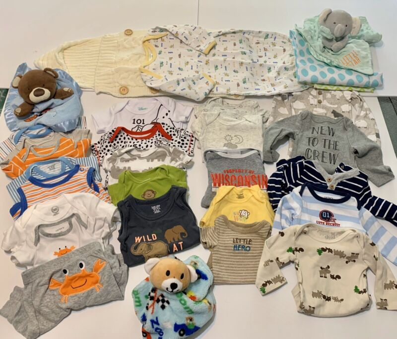 Newborn Baby Boy Clothes Lot With Extras 31 Pcs Very Gently Worn