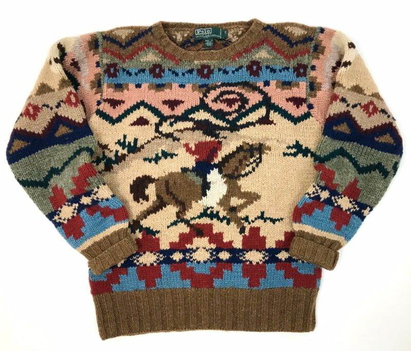 Vintage POLO Ralph Lauren Cowboy Indian Hand Knit Wool Sweater KANYE WEST SZ. 18