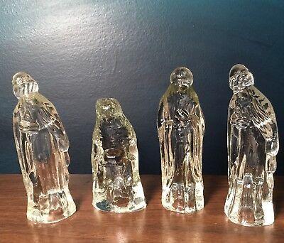 Vintage 4 Pc Glass Nativity Christmas scene Figure Set Clear Christ Jesus