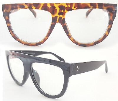 XXL Nerd Brille super dicker Rahmen schwarz tortoise Flat Top Klarglas 134