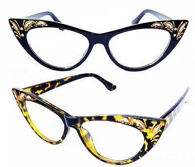 Cat Eye Nerd Brille Klarglas 50er Jahre Rockabilly schwarz o. tortoise #324