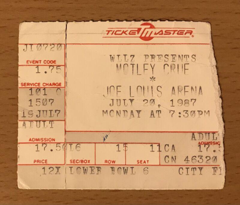 1987 MOTLEY CRUE / WHITESNAKE DETROIT GIRLS TOUR CONCERT TICKET STUB NIKKI SIXX