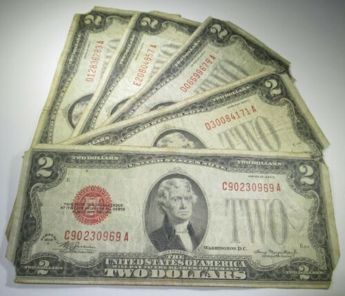 5 1928 US Two Dollar Bills Lowgrade 2 Paper Note Money Antique Currency Red Seal
