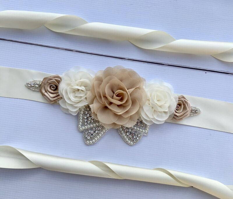Ivory Champagne Wedding / Bridal Rhinestone Flower Sash Belt