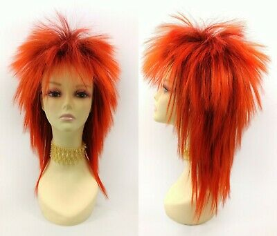 Red Orange Punk Rock Wig Spiky 80s Rockstar Mullet Metal Long