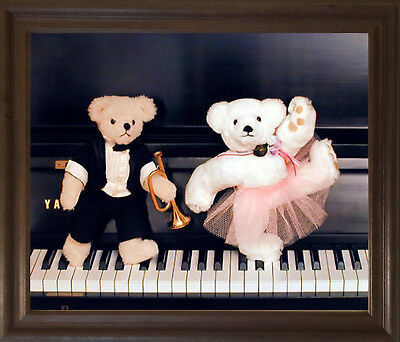 Cute Movie Couples (Cute Teddy Bear Couple on Piano Ron Kimball Brown Rust Framed Wall Decor)