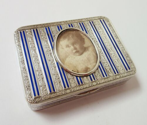 Antique Continental Silver Box Blue Enamel Stripes Photo