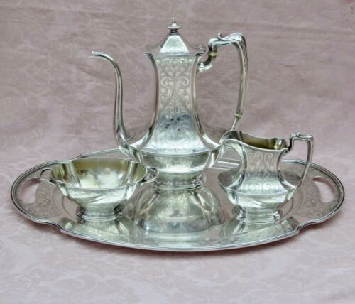 1911 ORNATE GORHAM STERLING TEA,DEMITASSE, OR CHOCOLATE SET 3 PIECES  + PLATTER