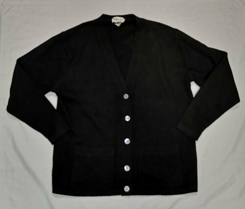 Vintage 1990s Ports International Black Cardigan Cashmere Sweater Sz L