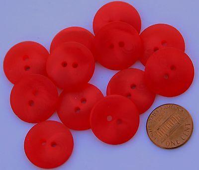 12 Red Swirl Semi-translucent Plastic Buttons Almost 13/16