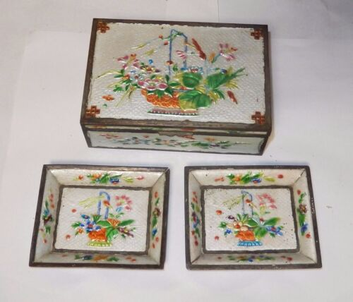 LARGE CLOISONNE REPOUSSE ENAMEL FLORAL BASKET BOX TRAY SET