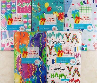 Happy Birthday Themed Vinyl Flannel Back Tablecloths  Various Sizes Themes