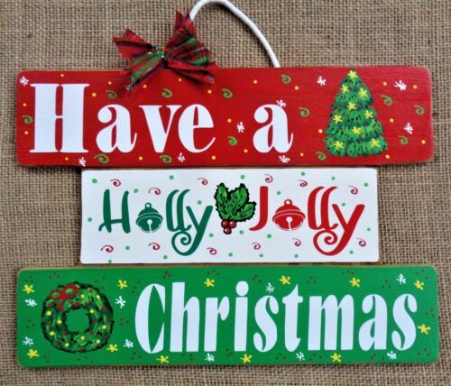 ONE-PIECE Slatted SIGN Have A Holly Jolly Christmas WALL ART DOOR HANGER PLAQUE