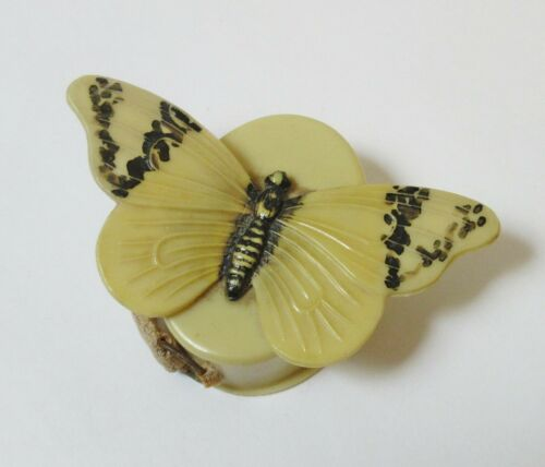 Vintage Celluloid Tape Measure Ivory Butterfly