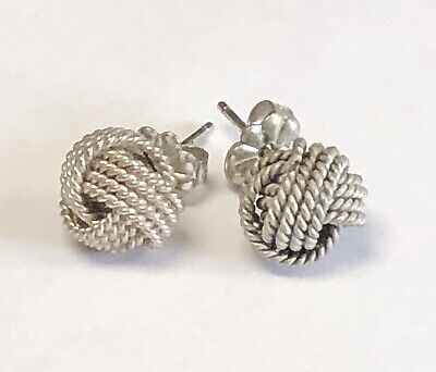 Tiffany & Co. Sterling Silver Love Knot Woven Rope Mesh Stud Earrings     003