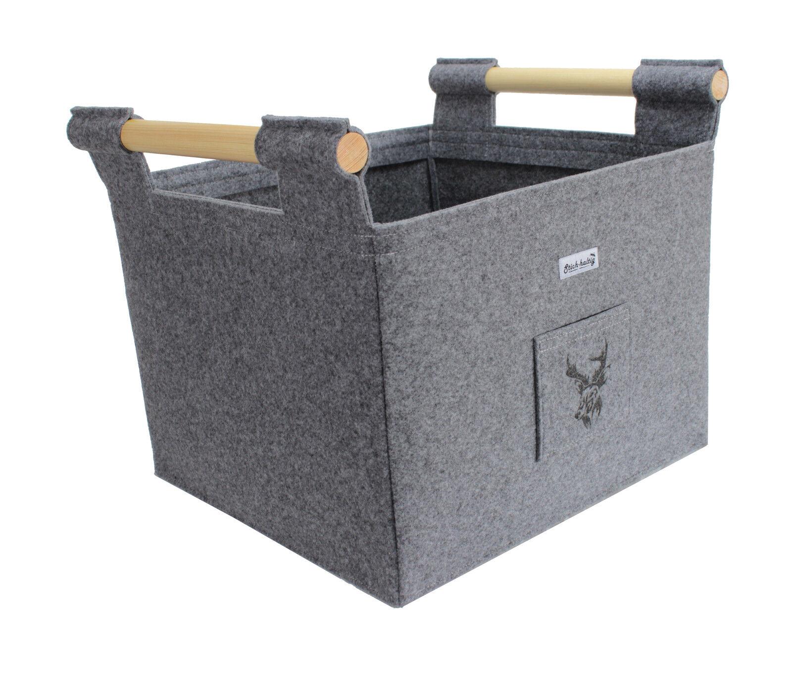 kaminkorb aus filz mit hirsch feuerholzkorb filzkorb kamin. Black Bedroom Furniture Sets. Home Design Ideas