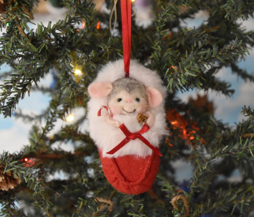 """Needle Felted """"Christmas Mouse In A Slipper"""" Ornament"""