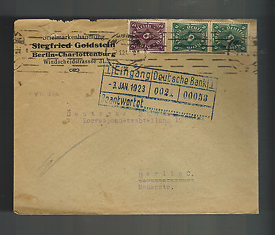 1923 Berlin Germany Judaica Cover To Deutsche Bank Siegfried Goldstein