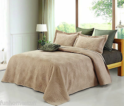 EMMA KING SIZE 3 PIECE BED BEDDING QUILT SET COLLECTION WITH 2 PILLOW SHAMS