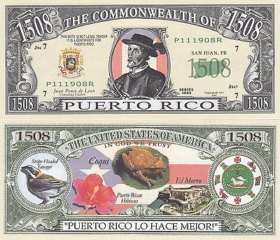 Two Puerto Rico PR Patriotic Novelty Money Bills # 150