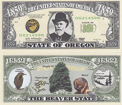 Two Oregon OR State Quarter Design Novelty Money Bills # 134