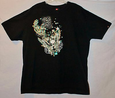 Quiksilver 3D Graphic Men Black Short Sleeve T-Shirt Size: XL