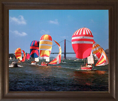 Sailboats Yuschenkoff Ocean Boating Scenic Brown Rust Framed Wall Decor Picture
