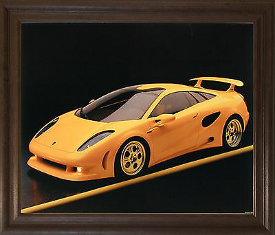 Yellow Lamborghini Cala-Italian Design Sports Car Brown Framed Art Print (19x23)