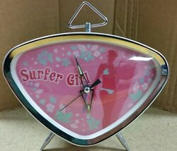 RARE PINK VINTAGE ATOMIC STYLE SURFER GIRL FOSSIL ALARM CLOCK RETRO SO COOL!!