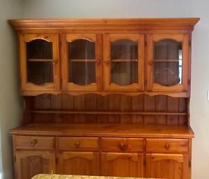 Hardwood Cabinet Wall Unit 1.85m Glass Doors Draws Malaga Swan Area Preview