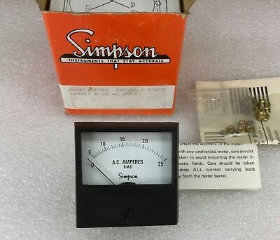 Simpson 2152 Ac Ampere Rms Meter Rangle 0-25 Ac Amps 17671 New In Box