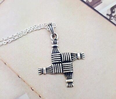 925 Sterling Silver St  Brigids Celtic Cross Necklace 18 Inch Bridgets Ireland