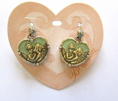 Brighton Divine Love Earrings- heart- angels- silver color-green - french wire  (Angel French Wire Earrings)