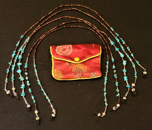 TURQUOISE & SILVER BEADED EYEGLASS CHAIN/HOLDER HAND MADE UNISEX w/ POUCH