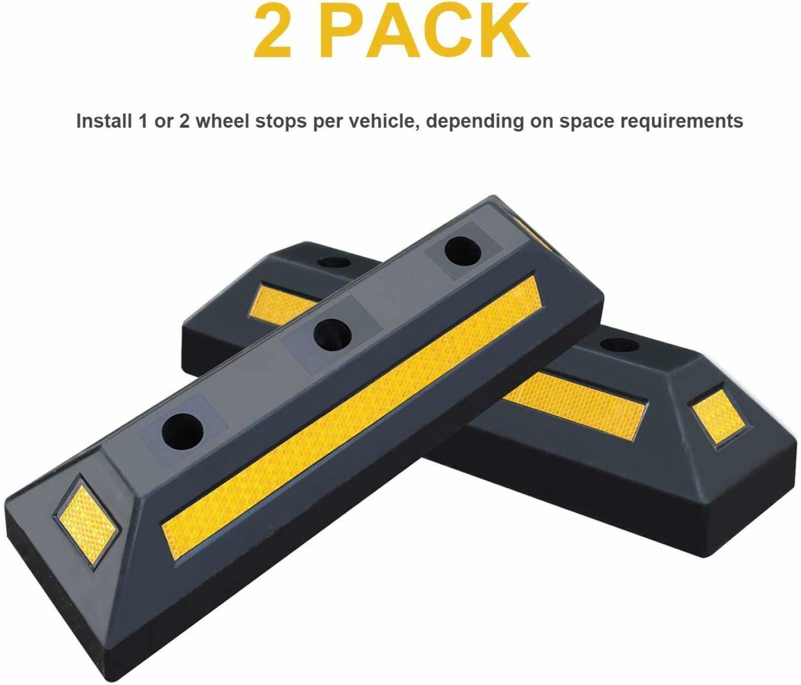 Heavy Duty Rubber Parking Blocks Chocks Wheel Stop for Car Truck RV Trailer 2pk