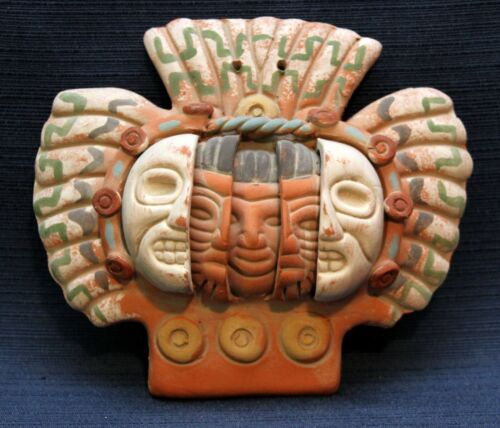 Mexican Three Ages of Man 3D Terracotta Pottery Face Mask Wall Hanging