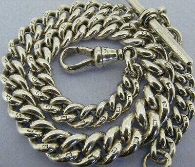 Antique Solid Sterling Silver Albert Pocket Watch Chain t-Bar Bir 1902 58 grams